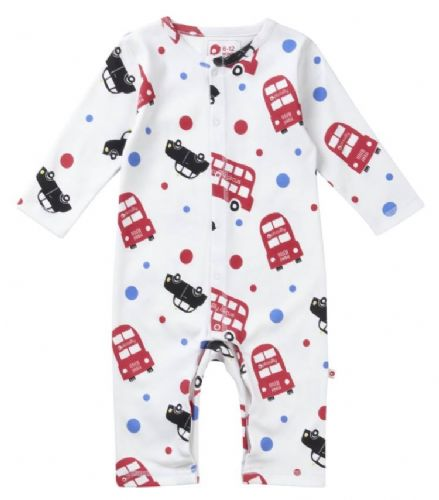 100% Organic Cotton London Bus Romper